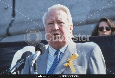 Rt.Hon. Edward Heath stock photo, Rt.Hon. Edward Heath, former British Prime Minister, speaks at a rally in Trafalgar Square in support of Beirut hostage John McCarthy in London, England on April 13, 1991. He died in July 2005. by newsfocus1