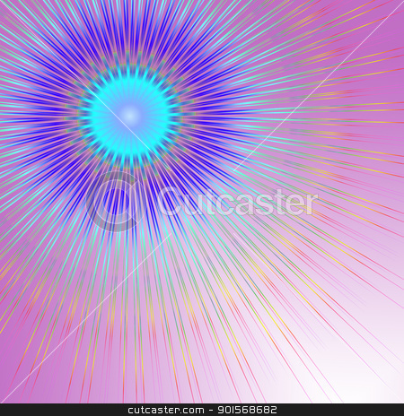 Geometric abstract. stock photo, Abstract illustration depicting geometric colorful lines against a pale pink background. by Samantha Craddock