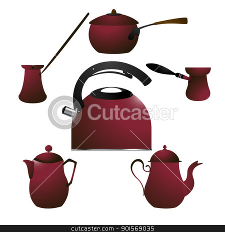 Coffee pots stock vector clipart, Coffee pots against white background by Richard Laschon