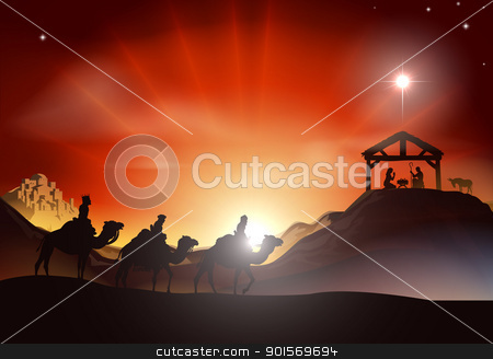 Traditional Christmas Nativity Scene stock vector clipart, Traditional Christian Christmas Nativity scene with the three wise men by Christos Georghiou