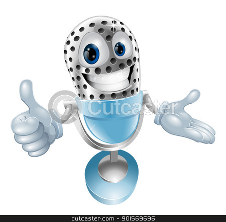 Cute microphone character stock vector clipart, Cute microphone character giving a thumbs up by Christos Georghiou