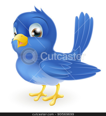 Cute cartoon bluebird stock vector clipart, Illustration of a cute cartoon bluebird standing by Christos Georghiou