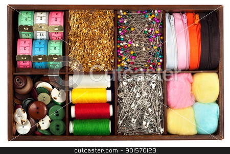 Tailoring materials stock photo, Assortment of different   tailoring materials by borojoint