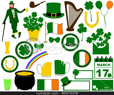 Illustration of Saint Patrick's Day stock vector clipart, Illustration of Saint Patrick's Day isolated on white by Ioana Martalogu
