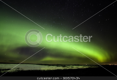 Northern Lights Saskatchewan Canada stock photo, Northern Lights Saskatchewan Canada green color and shape by Mark Duffy