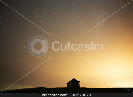 Night Shot Star Trails stock photo, Night Shot Star Trails in Saskatchewan Canada by Mark Duffy