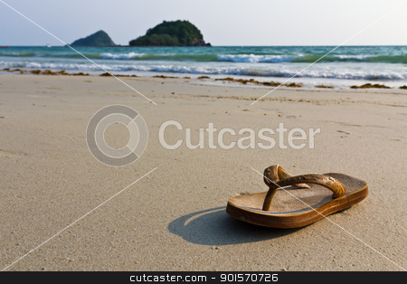 flip-flops on the beach stock photo, Sandals, flip-flops on the beach by stoonn