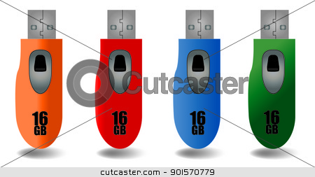 USB Flash Drive Vector stock vector clipart, Four vector flash drives in various colors. by Jadthree