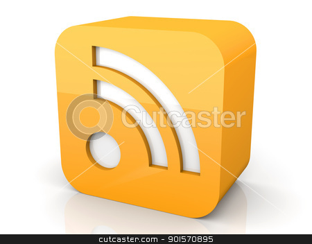 RSS Symbol stock photo, 3D rendered Illustration. Isolated on white.  by Michael Osterrieder