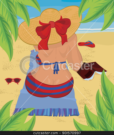 Woman is sitting on the beach under palm tree stock vector clipart, Woman is sitting on the beach under palm tree vector illustration