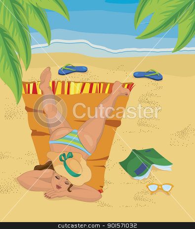 Young woman napping on the beach stock vector clipart, Vector illustration of a young woman napping on the beach under palm tree leaves  by Zebra-Finch