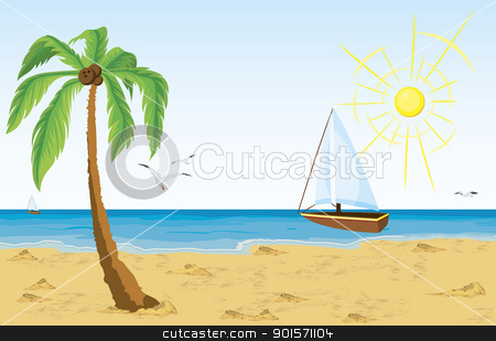 Palm tree on sand beach and bat sailing in the ocean stock vector clipart, Vector illustration of a palm tree on sand beach and bat sailing in the ocean  by Zebra-Finch