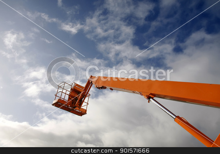 Hydraulic lift machine stock photo, Hydraulic lift machine against a blue sky by steve ball