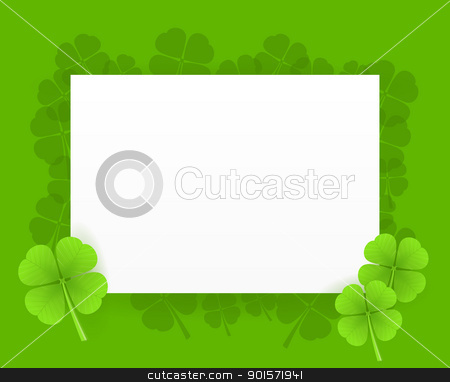 St Patrick Greeting Card stock vector clipart, Saint Patrick Greeting Card Illustration on green background by Vitezslav Valka