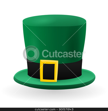 Green St Patrick Hat stock vector clipart, Folklore Green Saint Patrick Hat With Black Ribbon and Gold Buckle by Vitezslav Valka