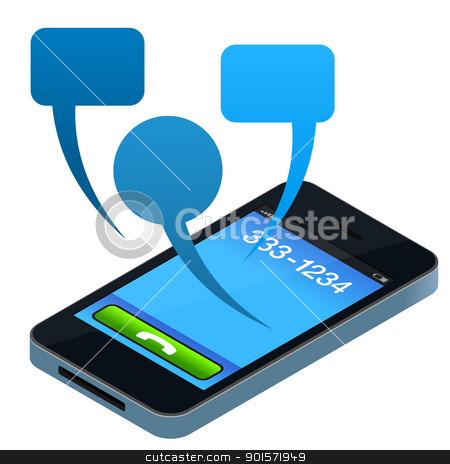 Social Mobile Phone stock vector clipart, Abstract Mobile Phone Concept with Blue Conversation Bubbles by Vitezslav Valka