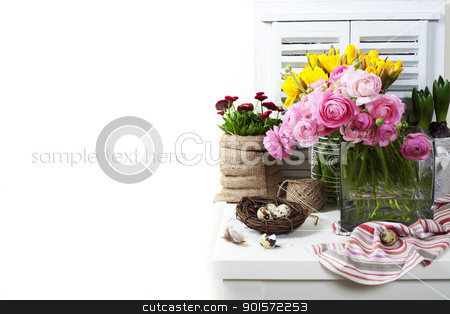 easter composition stock photo, easter composition with eggs and spring flowers on white background (with sample text) by klenova