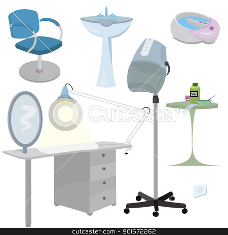 Beauty salon furniture  icon set   stock vector clipart, Beauty salon furniture  icon set   by Zebra-Finch
