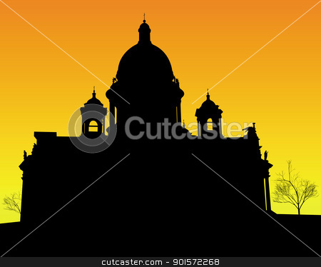 silhouette of St. Isaac's Cathedral in St Petersburg stock vector clipart, black silhouette of St. Isaac's Cathedral in St Petersburg on an orange background by Yuriy Mayboroda