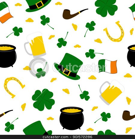 Seamless Saint Patrick's background  stock vector clipart, Seamless Saint Patrick's background isolated on white by Ioana Martalogu