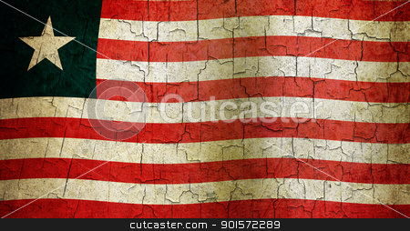 Grunge Liberia flag stock photo, Liberian flag on a cracked grunge background by steve ball