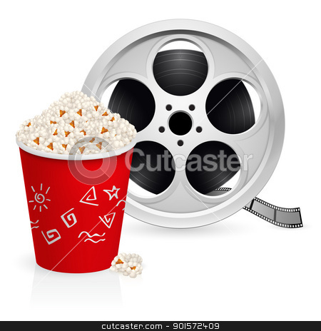 The film reel and popcorn stock photo, The film reel and popcorn. Illustration on white background  by dvarg