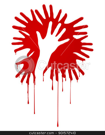 Abstract bloody hands stock photo, Abstract bloody hands. Illustration on white background by dvarg