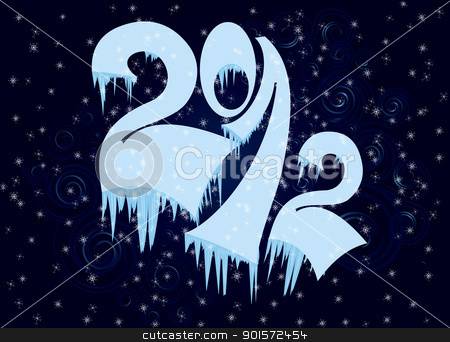 New Year numbers  in ice stock vector clipart, New Year numbers  in ice on dark blue swirly background   by Zebra-Finch