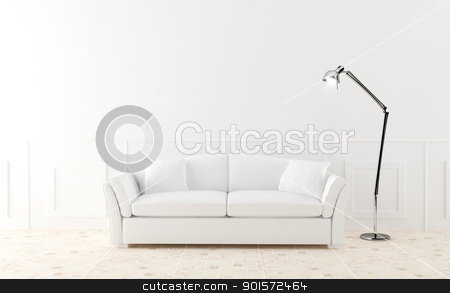 White sofa in luminous room stock photo, White modern sofa in luminous home room by Giordano Aita