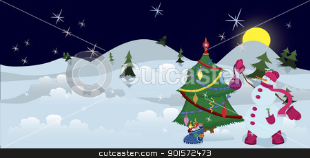 Snowman is decorating Christmas tree banner stock vector clipart, Snowman is decorating Christmas tree the night