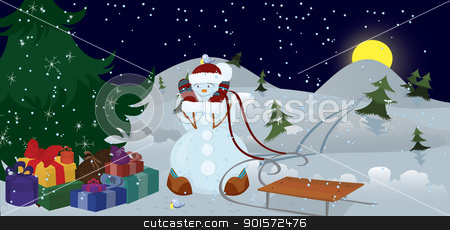 Snowman and birds under Christmas tree banner stock vector clipart, Snowman and birds under Christmas tree in the night  banner  by Zebra-Finch