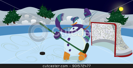 Snowman is waving hello banner stock vector clipart, Snowman is waving hello on ice-hockey field banner   by Zebra-Finch