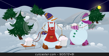 Snowmen are getting diner  banner stock vector clipart, Snowmen are getting diner in the night banner