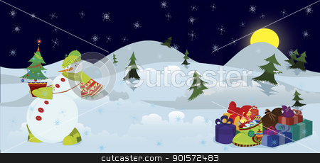 Snowman and Christmas tree in the pot banner stock vector clipart, Snow man with Christmas tree in the pot  banner  by Zebra-Finch