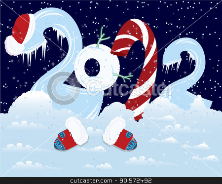 New Year numbers  with hat and mittens   stock vector clipart, New Year numbers  with hat and mittens  in the snow   by Zebra-Finch