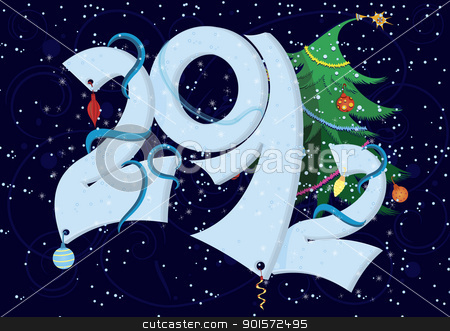 New Year numbers  2012 stock vector clipart, New Year numbers  2012 on blue swirly background   by Zebra-Finch