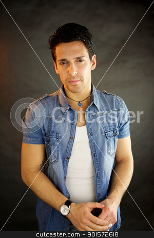 Male model serious stock photo, Male model serious looking into camera by ...