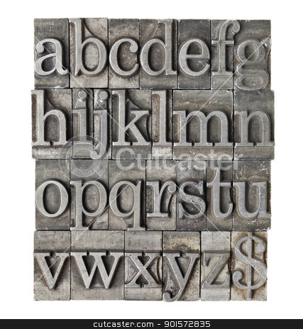 alphabet in grunge meta type stock photo, English alphabet (lowercase) and dollar sign in vintage grunge lwtterpress metal type by Marek Uliasz