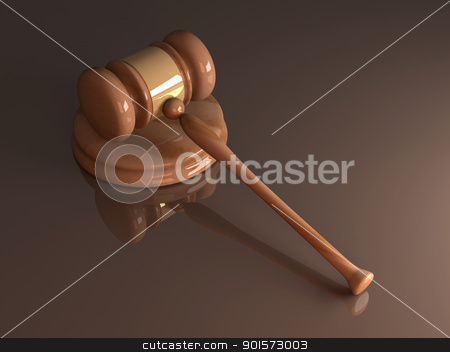 Auction Hammer stock photo, 3D rendered Illustration. 