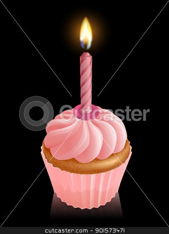 Pink fairy cake cupcake with birthday candle stock vector clipart, Illustration of pink fairy cake cupcake with lit birthday candle by Christos Georghiou