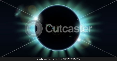 Total eclipse stock vector clipart, A conceptual background featuring a total eclipse. Copy-space centre and to the sides.  by Christos Georghiou