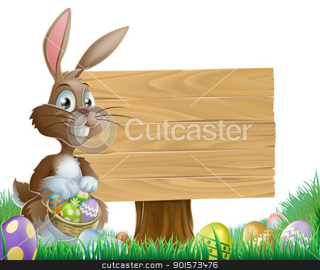 Easter background sign stock vector clipart, The Easter bunny holding a basket of Easter eggs with more Easter eggs around him by a wood sign board by Christos Georghiou