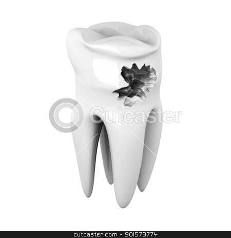 Caries stock photo, 3D rendered illustration. Isolated on white. by Michael Osterrieder