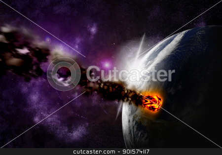 Attack of the asteroid on the planet in the universe. Abstract i stock photo, Attack of the asteroid on the planet in the universe. Abstract illustration of a meteor impact. by mozzyb