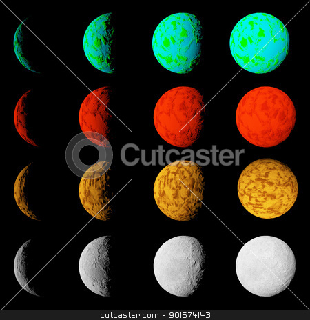 Phase of lighting different planets. Planets in deep dark space. stock photo, Phase of lighting different planets. Planets in deep dark space. Abstract illustration of universe. by mozzyb