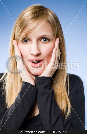 Wow, what an offer. stock photo, Wow, what an offer, portrait of a happily surprised beautiful young blond. by exvivo