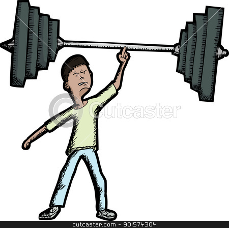 Skinny Weightlifter stock vector clipart, Skinny Latino teen lifts large barbell with finger by Eric Basir