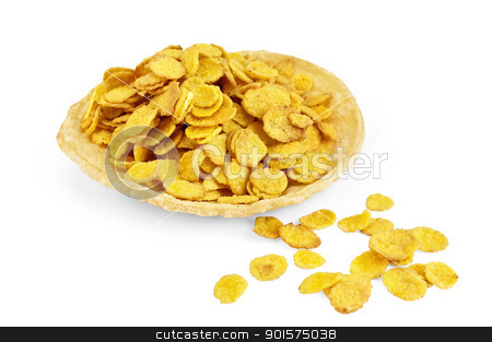 Corn flakes on bread stock photo, Corn flakes on dry bread isolated on white background by rezkrr