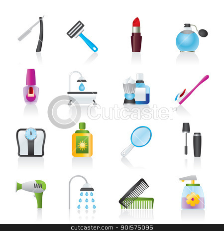 body care and cosmetics icons  stock vector clipart, body care and cosmetics icons - vector icon set by Stoyan Haytov