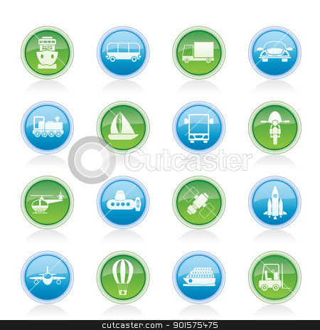 Transportation, travel and shipment icons  stock vector clipart, Transportation, travel and shipment icons - vector icon set by Stoyan Haytov